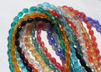 Perline ovali cristallo sfaccettato 6 x 4 mm Verde 60 Pz