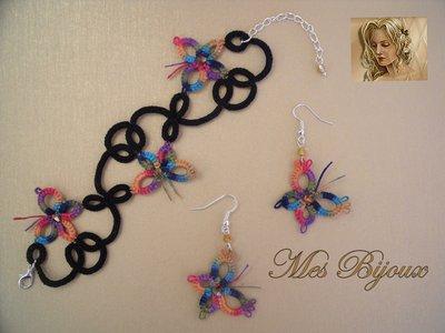 Bracciale e orecchini  con farfalline multicolor moda chiacchierino idea regalo donna ragazza