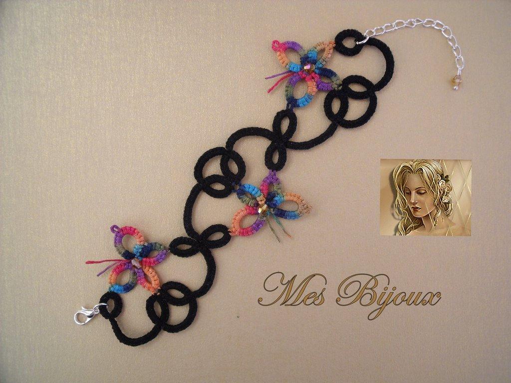 Bracciale   moda  chiacchierino con farfalline multicolor idea regalo  ragazza