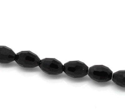 60 perline ovali cristallo sfaccettato 6 mm per 4 mm nero