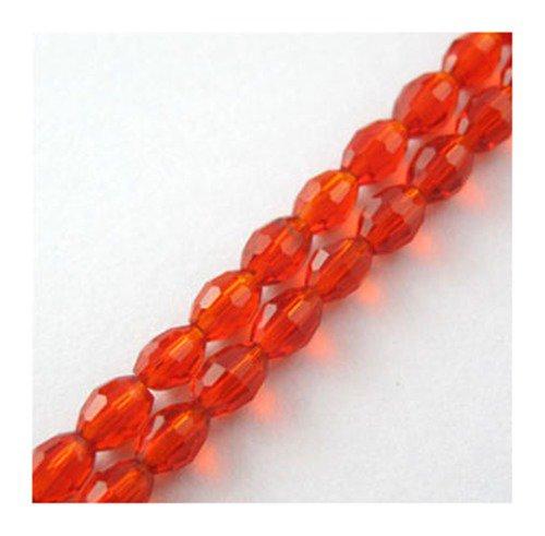Perline ovali cristallo sfaccettato 6 x 4 mm Rosso 60 Pz