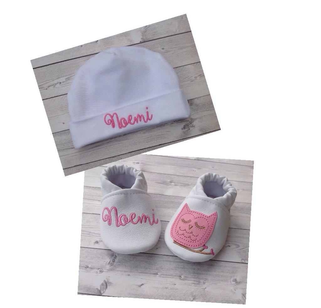 Set Scarpine e Cappellino Civetta personalizzati - Bimba 3-6 mesi
