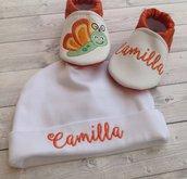 Set Scarpine e Cappellino Farfalla personalizzati con nome - Bimba 3-6 mesi