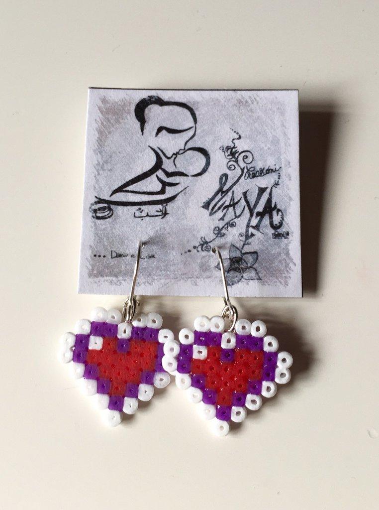 Orecchini Hama Beads Cuori