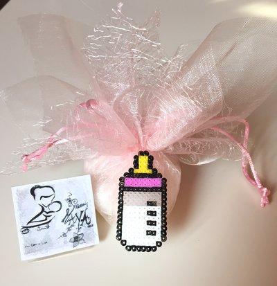 Bomboniera sacchettino Battesimo Biberon rosa