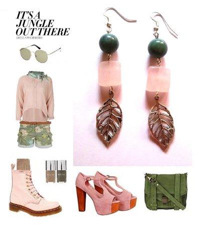 """Orecchini """"Jungle"""" con quarzo rosa, agata verde e foglia in metallo argentato"""