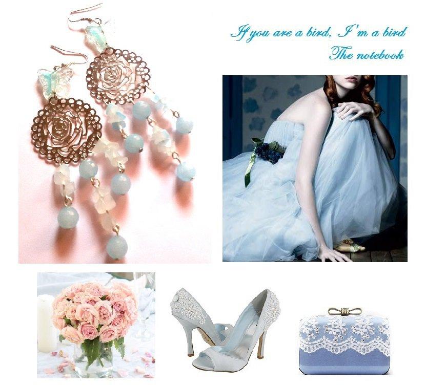 """Orecchini """"Blue roses waterfall"""" agata e pietre semipreziose color azzurro"""