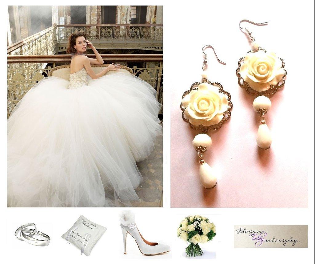 """Orecchini """" White roses"""" lunghi con rosa bianca e vetro - cerimonia sposa"""
