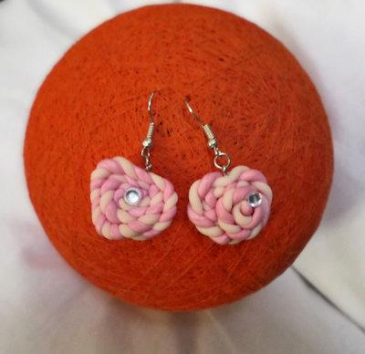 Cuore di marshmallow - girella rosa con brillantino orecchini