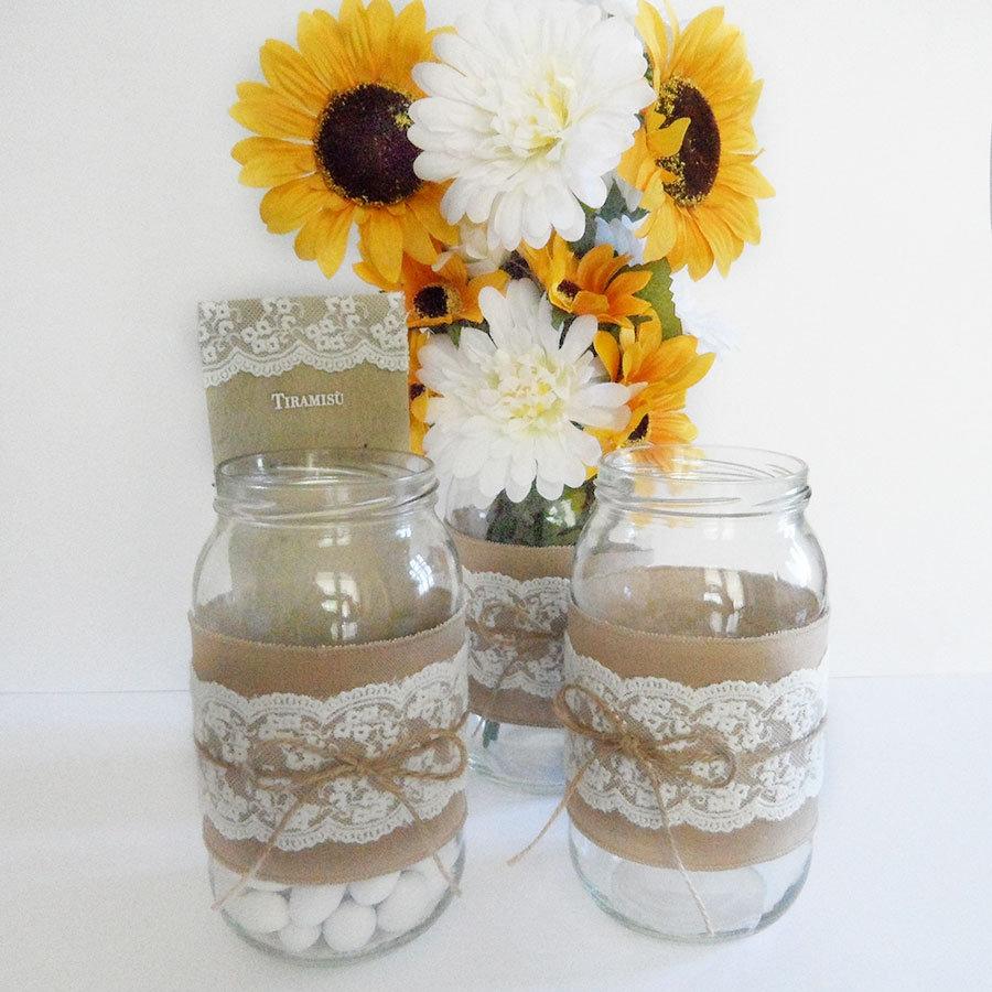 Fascia shabby per vaso con lino di cotone, pizzo e nastro di iuta