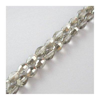 60 perline ovali cristallo sfaccettato 6 mm per 4 mm bianco