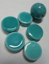 6 Perline in Porcellana TURCHESE