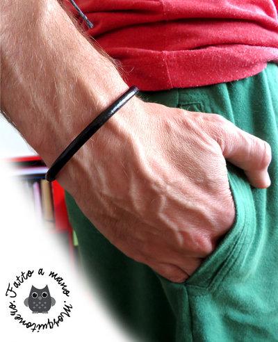 Bracciale uomo pelle Cuoio LISCIO NERO 5mm polsino braccialetto semi rigido