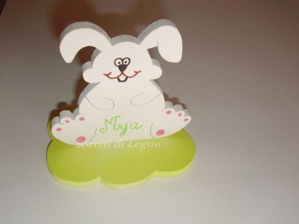 Animaletto (coniglio) segnaposto con nome
