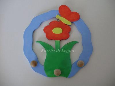 Porta-presine, porta-asciugamani fiore con farfalla e applicazioni