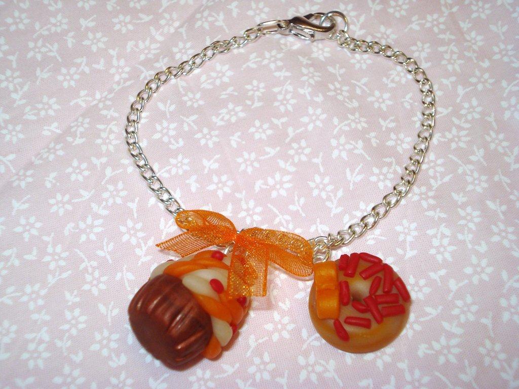 Braccialetto ciambella+bignè arancio