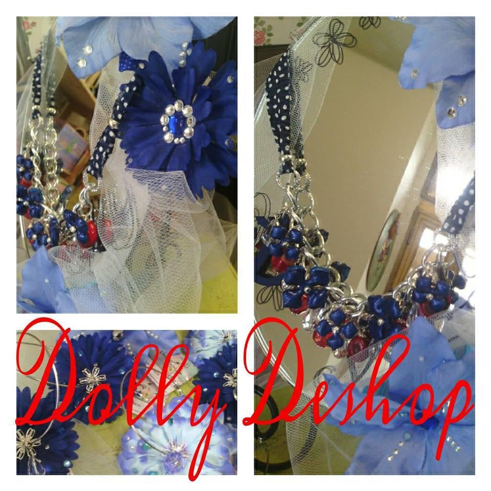 collana blu pois bianchi