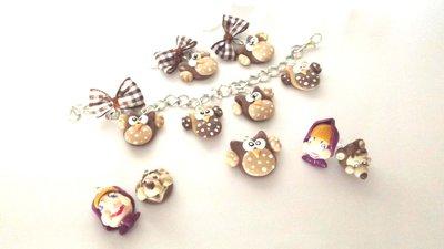 INSERZIONE PER GIOVANNA - 5 set braccialetti - orecchini - ciondolo  fimo misti - 1 ciondolo doll