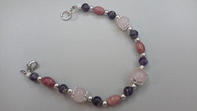 Bracciale con pietre dure vere, ametista,  quarzo rosa e rodonite