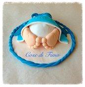Cake topper coulotte con piedini in fimo per nascita o battesimo