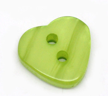 Set 10 bottoni - Cuori verdi