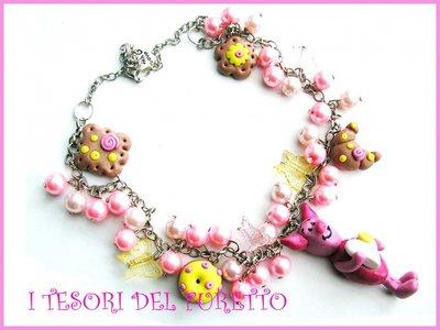 """Collana """"Pimpi"""" winnie the pooh maialino fimo cernit kawaii multicharm perle idea regalo donna bambina"""