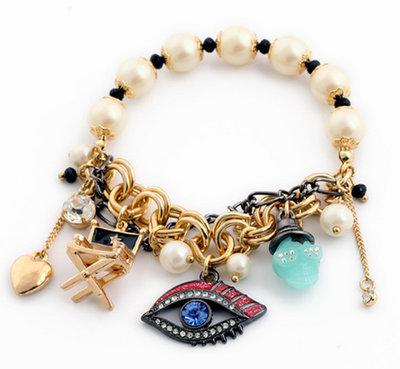 Bracciale elastico perle e accessori fashion con strass fashion idea regalo ragazza
