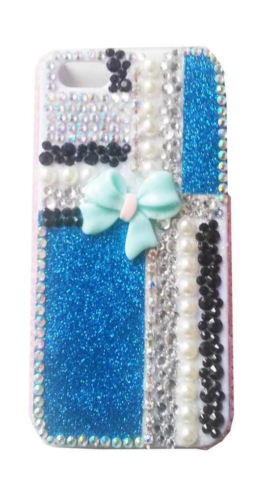 Cover glitter e strass bianco-azzurro iPhone 5 5G 5S - PEZZO UNICO!