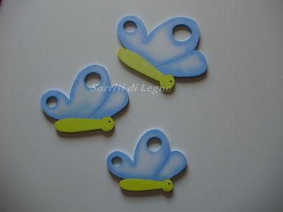 Set di 3 farfalle decoro muro di colore azzurro
