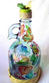 Bottiglia per olio foglie dipinte e tappo con foglie in pet