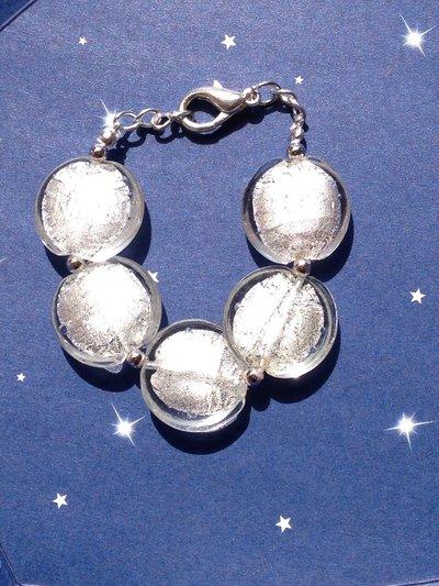 LUCE:bracciale con perle schiacciate in vetro di Murano.