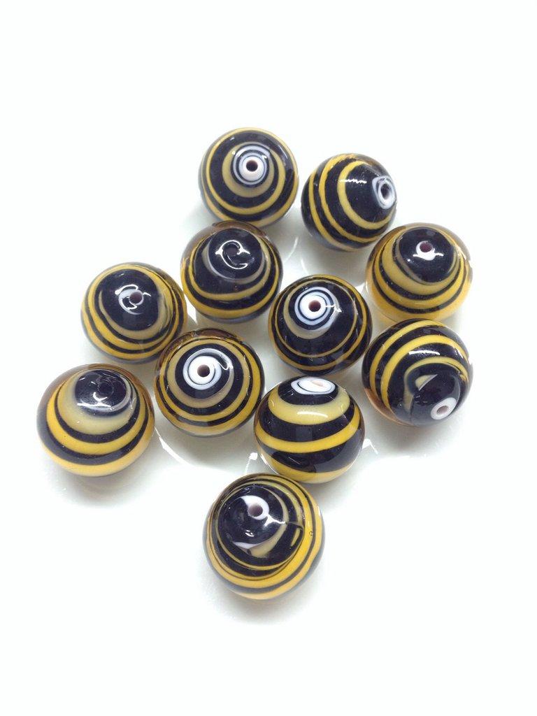 PERLA TIGRATA :set 10 perle in vetro di Murano.