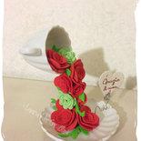 Tazzina fiorita portabiglietti: creazione particolare per regalo originalissimo