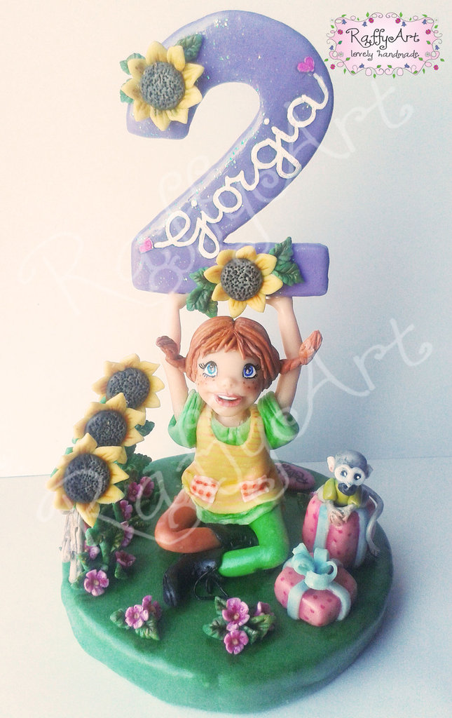 """Cake topper per torte di compleanno/feste per bambini """"Divertiamoci con Pippi!"""" (personalizzabile)"""
