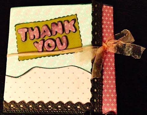 Biglietto di Auguri in stile Scrap Booking con tema FARFALLA e frase personalizzata THANK YOU
