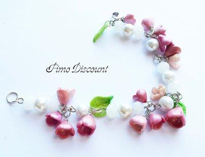 Bracciale Fiori Rosa e Perle