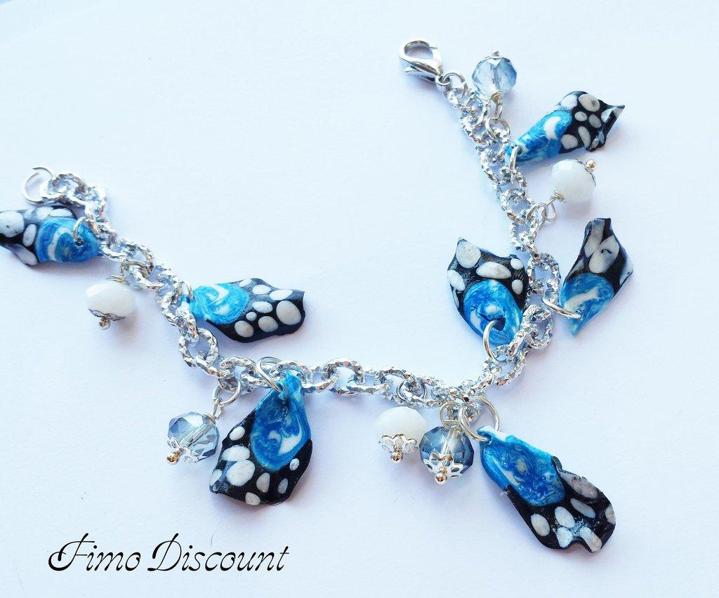 Bracciale Ali di Farfalle Azzurre in Fimo