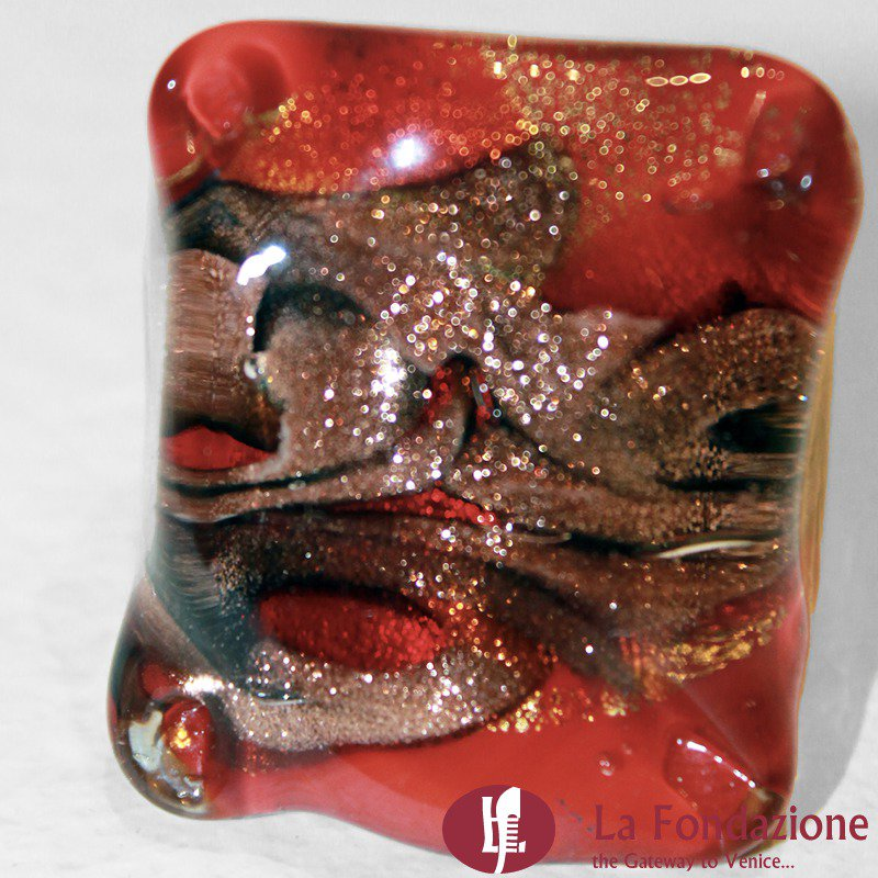 Quadro Vortici Rosso - Anello in vetro di Murano fatto a mano