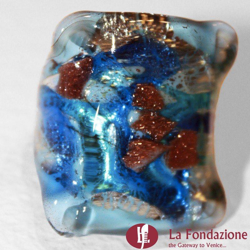 Quadro Vortici Azzurro - Anello in vetro di Murano