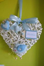 Fiocco nascita cuore passerotto azzurro