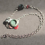 C.16.15 - collana in argento con bottoni vintage e perle in resina