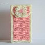 Porta fazzoletti rosa con fiore fatto a mano