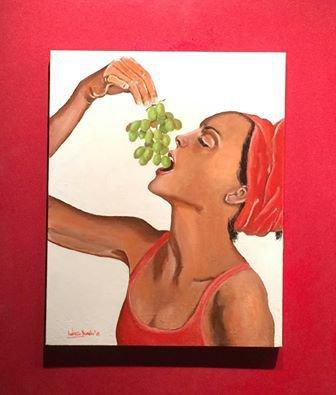 """ritratto con colori acrilici """"donna con l'uva"""""""