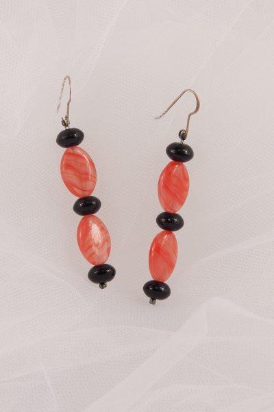 Orecchini in pista vitrea rosa e nero -earrings glass paste pink and black