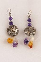 Orecchini in ametista viola, ametrina e dischi in argento fatti a mano - earrings in amethyst purple, ametryne and discs in handmade silver