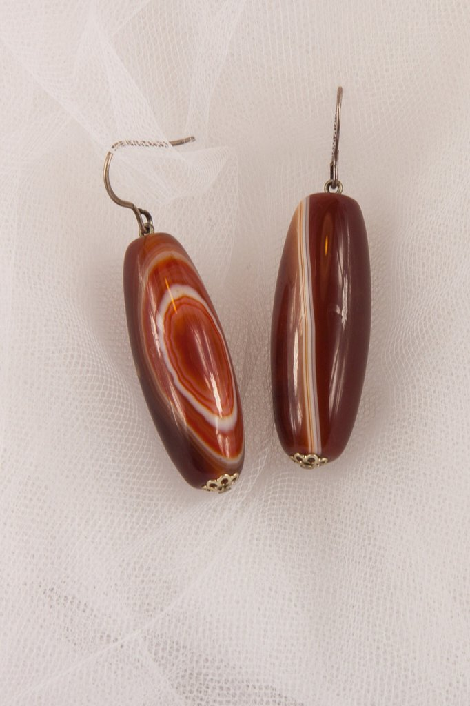 Orecchini in corniola tagliata a cilindro - earrings carnelian cut cylinder.
