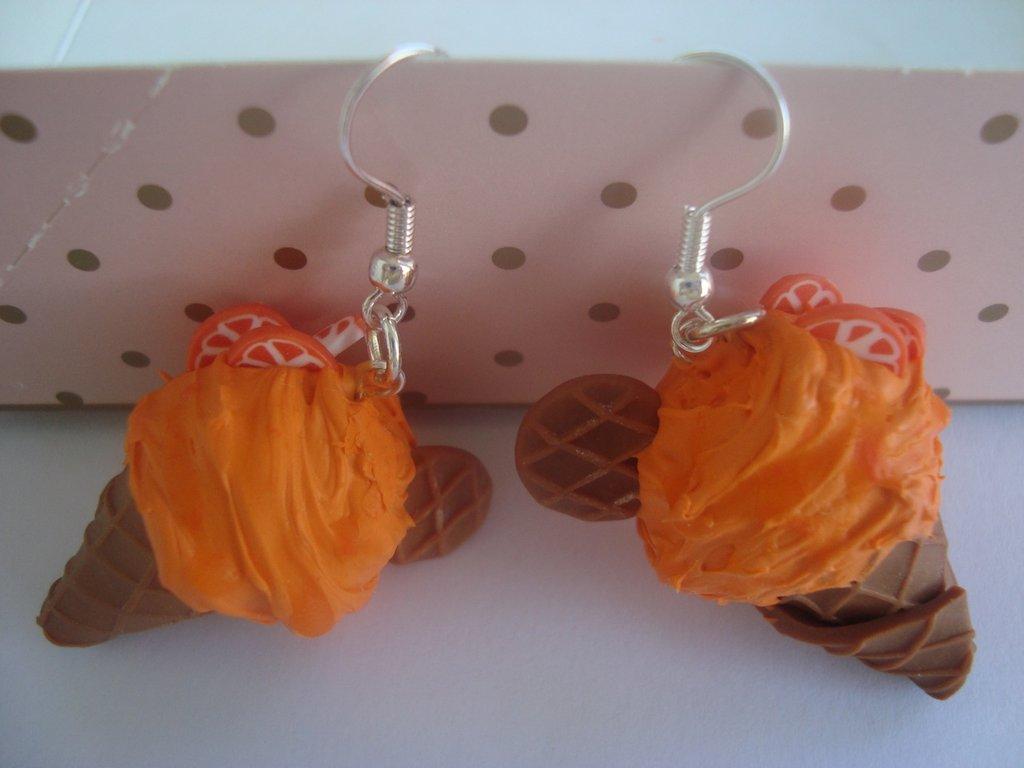orecchini coni gelato arancia