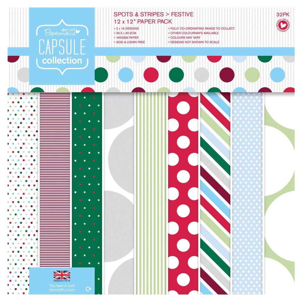 Blocco di carta 30x30 cm - Capsule Spots & Stripes Festive