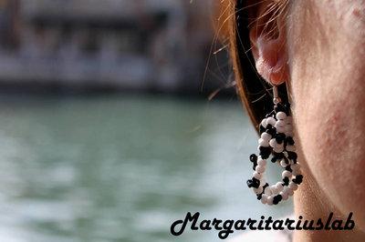 Orecchini pendenti Giudecca bianco-nero