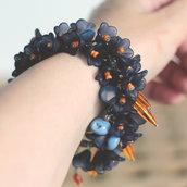 B.6.2015 - bracciale blu con charms e bottoni vintage azzurri